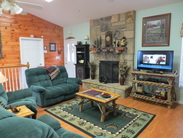 Rent by owner cabin great room with gas fireplace
